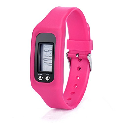 WINWINTOM 1Pair Digital LCD Pedometer Run Walking Distanz Kalorienzaehler Uhrenarmband Heisses Rosa