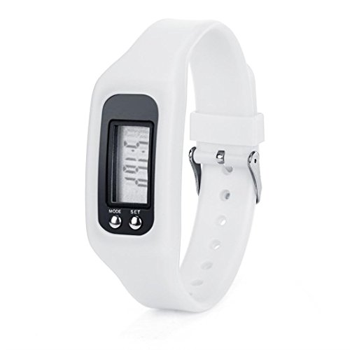 WINWINTOM 1Pair Digital LCD Pedometer Run Walking Distanz Kalorienzaehler Uhrenarmband Weiss