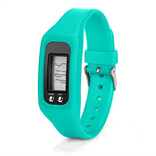 WINWINTOM 1Pair Digital LCD Pedometer Run Walking Distanz Kalorienzaehler Uhrenarmband Himmel Blau
