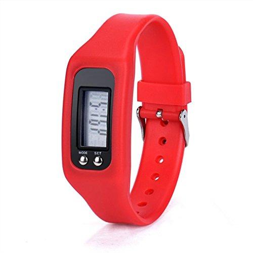 WINWINTOM 1Pair Digital LCD Pedometer Run Walking Distanz Kalorienzaehler Uhrenarmband Rot