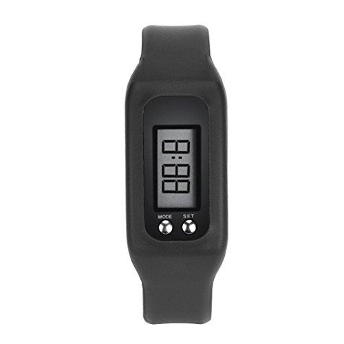 WINWINTOM 1Pair Digital LCD Pedometer Run Walking Distanz Kalorienzaehler Uhrenarmband Schwarz