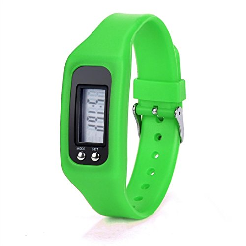 WINWINTOM 1Pair Digital LCD Pedometer Run Walking Distanz Kalorienzaehler Uhrenarmband Gruen