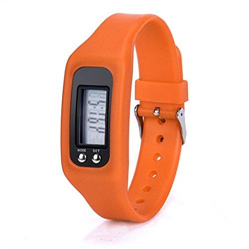 WINWINTOM 1Pair Digital LCD Pedometer Run Walking Distanz Kalorienzaehler Uhrenarmband Orange