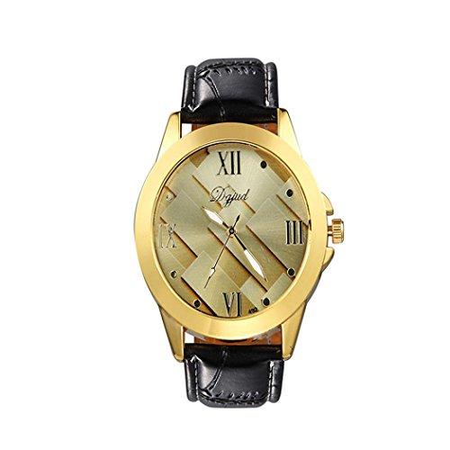 WINWINTOM 1PC Maenner einfach und stilvoll Freizeit Geschaefts Leder Buegel Uhr Gold