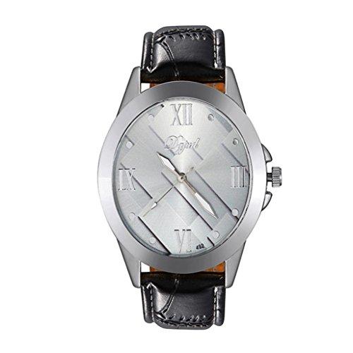 WINWINTOM 1PC Maenner einfach und stilvoll Freizeit Geschaefts Leder Buegel Uhr Silber