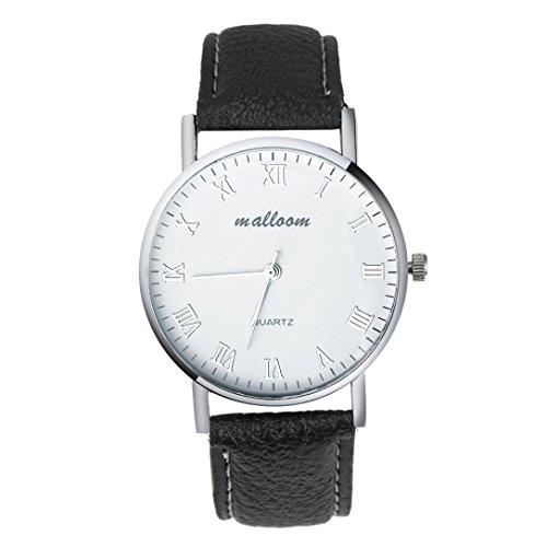 WINWINTOM Herren Luxus Faux Leder Herren Quarz Analoguhr Uhren Schwarz schwarz