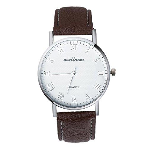 WINWINTOM Herren Luxus Faux Leder Herren Quarz Analoguhr Uhren Braun