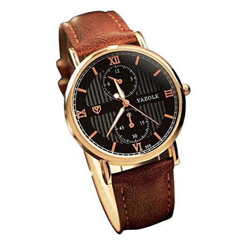 WINWINTOM Luxus Leder Herren Quarzuhr Noctilucent Uhren Braun