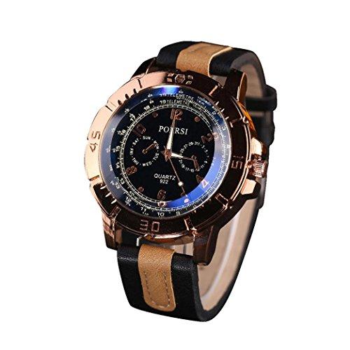 WINWINTOM Luxus Analog Quartz Faux Leder Armbanduhr Schwarz
