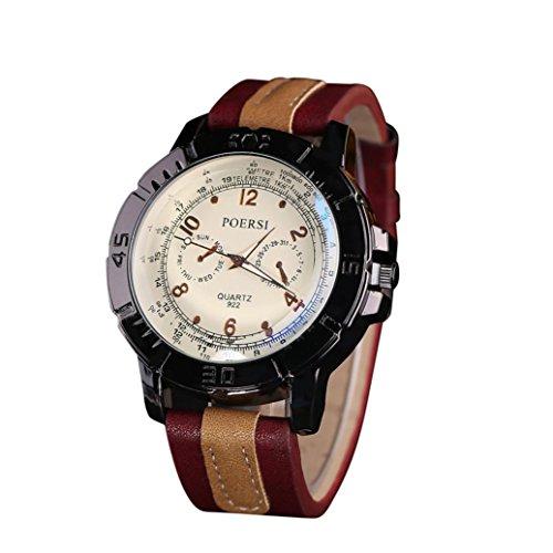 WINWINTOM Luxus Analog Quartz Faux Leder Armbanduhr Rot
