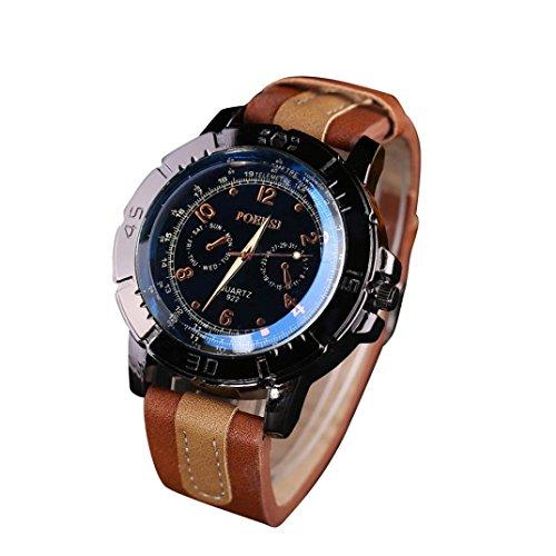 WINWINTOM Luxus Analog Quartz Faux Leder Armbanduhr Kaffee