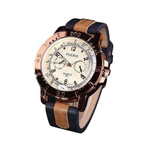 WINWINTOM Luxus Analog Quartz Faux Leder Armbanduhr Marine