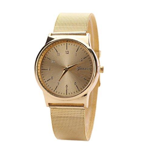 WINWINTOM Klassische Goldquarz Edelstahl Armbanduhr der netten Frauen Gold