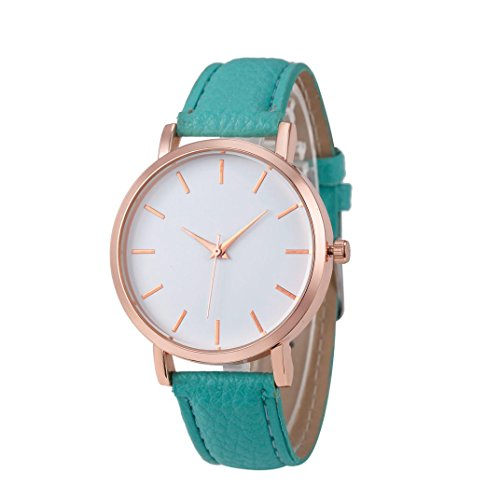 WINWINTOM Klassische Goldquarz Edelstahl Armbanduhr der netten Frauen Himmel Blau
