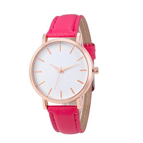 WINWINTOM Klassische Goldquarz Edelstahl Armbanduhr der netten Frauen Heisses Rosa
