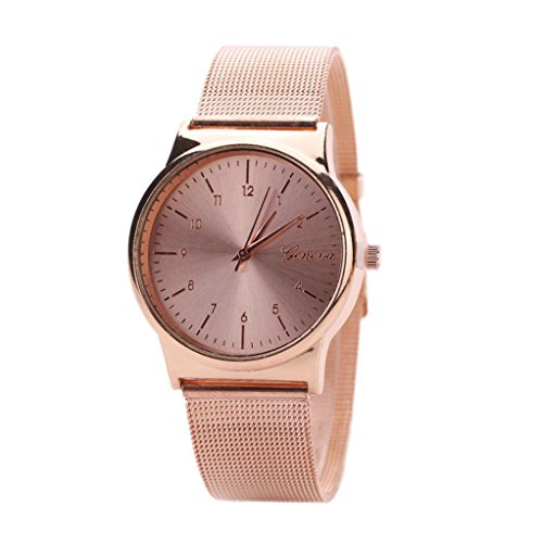 WINWINTOM Klassische Goldquarz Edelstahl Armbanduhr der netten Frauen Rosen Gold