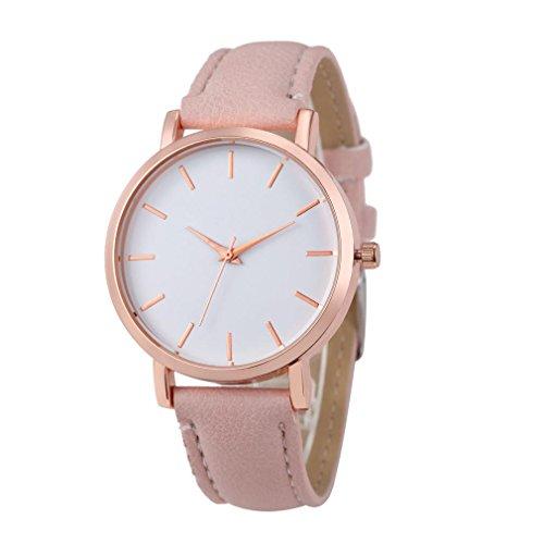 WINWINTOM Klassische Goldquarz Edelstahl Armbanduhr der netten Frauen Rosa
