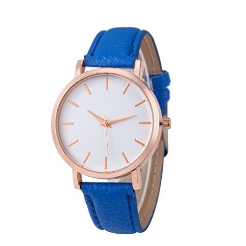 WINWINTOM Klassische Goldquarz Edelstahl Armbanduhr der netten Frauen Blau