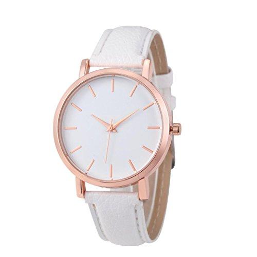 WINWINTOM Klassische Goldquarz Edelstahl Armbanduhr der netten Frauen Weiss