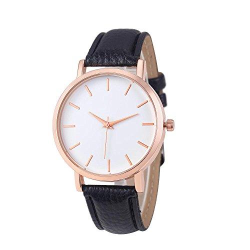WINWINTOM Klassische Goldquarz Edelstahl Armbanduhr der netten Frauen Schwarz