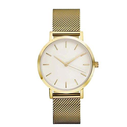 WINWINTOM Frauen Kristall Edelstahl analoges Armband Golden