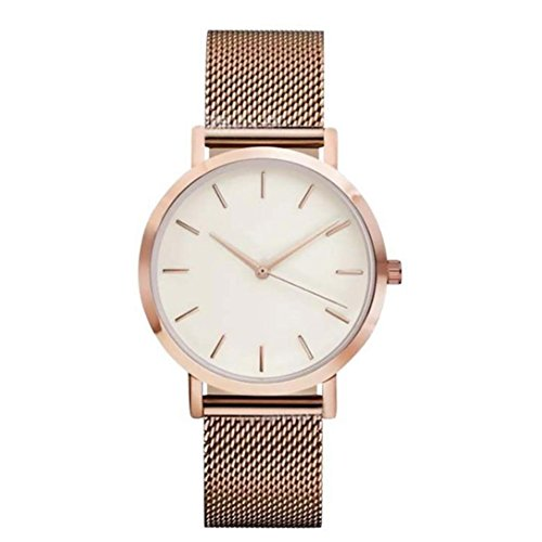 WINWINTOM Frauen Kristall Edelstahl analoges Armband Rosen Gold