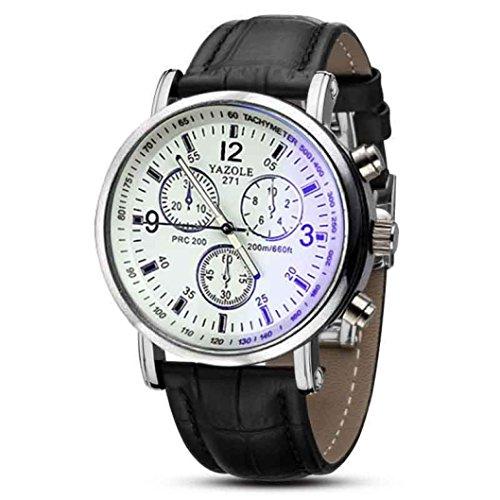 WINWINTOM Luxuxfaux Leder Mens blaues Strahl Glas Quarz analoge Uhren