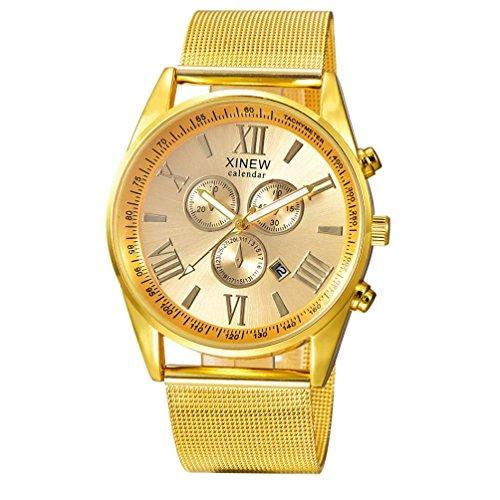 WINWINTOM Multifunktions Tag Datum der Maenner analoge Quarz Edelstahl Ineinander greifen Armbanduhr Golden
