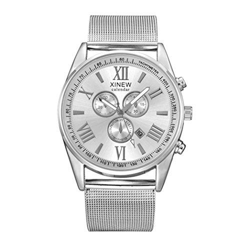 WINWINTOM Multifunktions Tag Datum der Maenner analoge Quarz Edelstahl Ineinander greifen Armbanduhr Silber