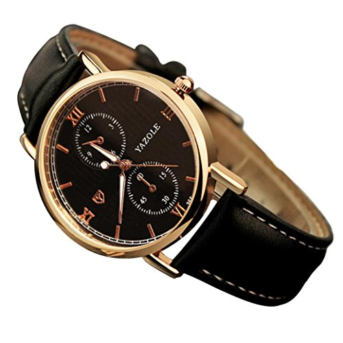 WINWINTOM Luxus Leder Herren Quarzuhr Noctilucent Uhren Schwarz