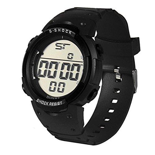 WINWINTOM Wasserdichte Maenner LCD Digital Stoppuhr Datum Gummi Sport Armbanduhr Schwarz