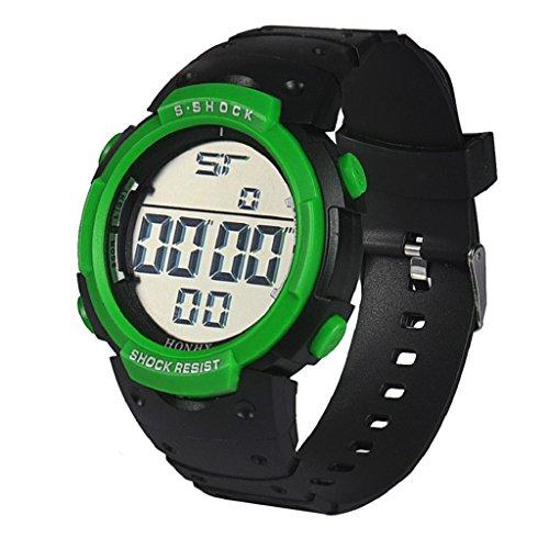 WINWINTOM Wasserdichte Maenner LCD Digital Stoppuhr Datum Gummi Sport Armbanduhr Gruen
