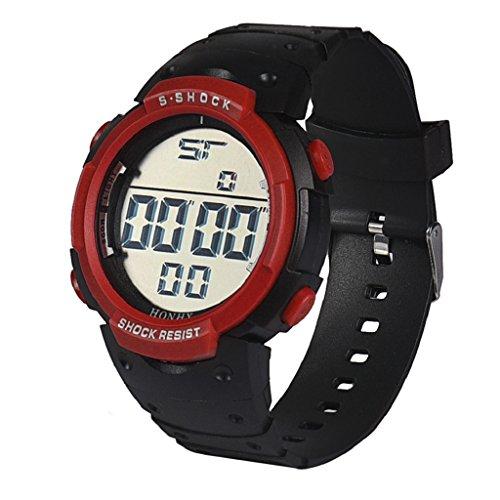 WINWINTOM Wasserdichte Maenner LCD Digital Stoppuhr Datum Gummi Sport Armbanduhr Rot