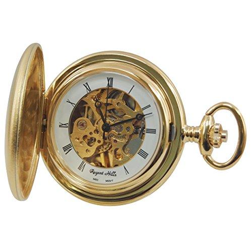Regent Hills Vintage Vergoldet Satin Finish Full Hunter mechanische Taschenuhr mit Kette 6828 gp w2