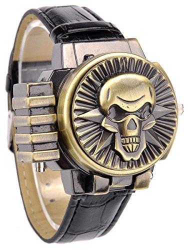 Herren SKULL drehbar offen doppelseitig Analog Quarz Bewegung Handgelenk Uhren mit Blau Rot Licht