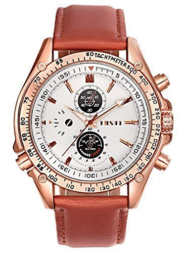 Herren Fashion Rose Gold Case Braun PU Lederband Quarz Analog Armbanduhren