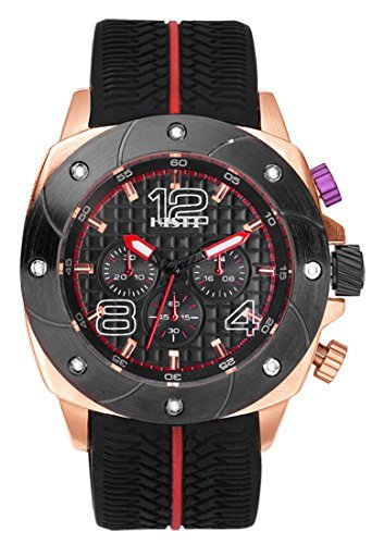 Herren Schwarz Big Face Zifferblatt Rose Gold Fall Sport Silikon Band weiche Gummi Strap Analog Quarz Armbanduhr