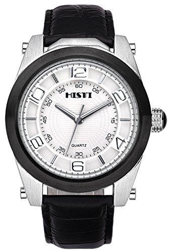 Maenner s Big Oversized Weiss Zifferblatt schwarz Leder Band Analog Quarz Uhrwerk Armbanduhr