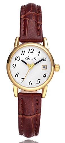 eamti Damen Easy Reader weiss Zifferblatt braun Lederband Casual Analog Quarz Handgelenk Uhren mit Datum