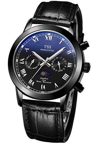 TSS Herren s Schwarz Zifferblatt Silber Hand schwarz Leder Band mit Mond Phase