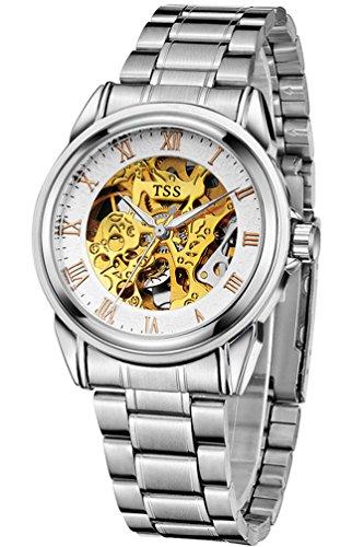 TSS Herren t5002 C3 Automatische Skelett Armbanduhr mit Edelstahl Band