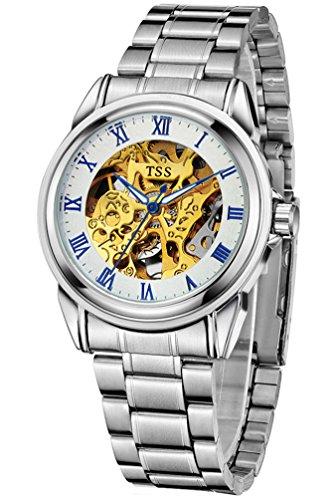TSS Herren t5002 C4 Automatische Skelett Armbanduhr mit Edelstahl Band