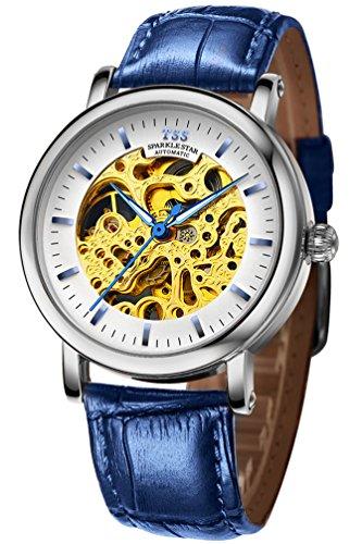 TSS Herren t5018tc4 Automatische Skelett Armbanduhr mit Leder Band