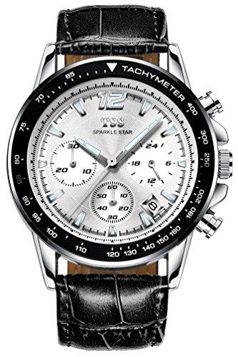 TSS Herren t5023pc1 Quarz Chronograph Diver Blende Armbanduhr mit Leder Band