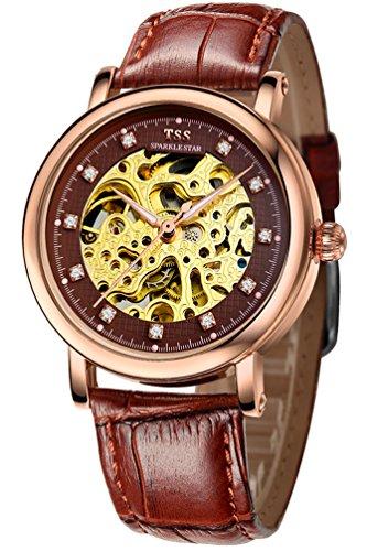 TSS Herren s Brown Zifferblatt Golden Hand braun Leder Band automatische Skelett Armbanduhr