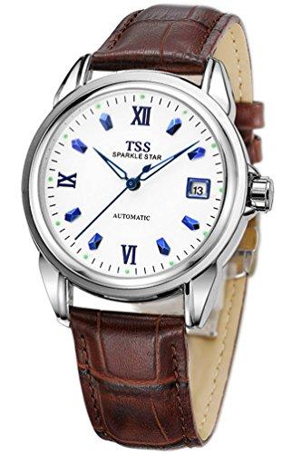 TSS Herren s weiss Zifferblatt blau Hand braun Leder Band automatische Armbanduhr