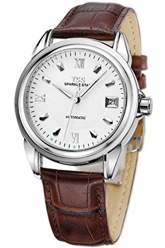 TSS Herren s weiss Zifferblatt Silber Hand braun Leder Band automatische Armbanduhr