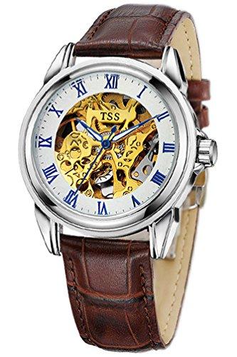 TSS Herren s weiss Zifferblatt blau Hand braun Leder Band Skelett View Automatische Armbanduhr