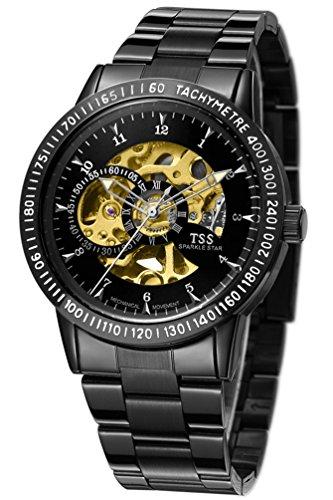 TSS Herren s Schwarz Zifferblatt Silber Hand schwarz Band Skelett View Automatische Armbanduhr