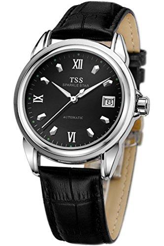 TSS Herren s Schwarz Zifferblatt Silber Hand schwarz Leder Band automatische Armbanduhr